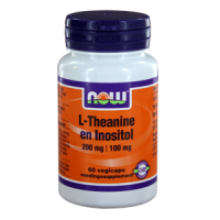 NOW L-Theanine 200 mg met inositol 100 mg.