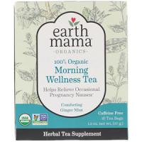 Earth Mama Earth Mama, 100% Organic Morning Wellness Tea, Troostende Ginger Mint, 16 theezakjes, 37 g