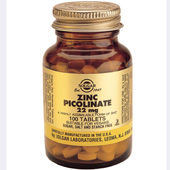 Solgar Zinc Picolinate 22 mg tablets