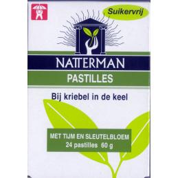 Natterman Natterman suikervrije pastilles met tijm/sleutelbloem