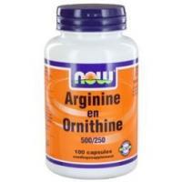 NOW Arginine & Ornithine 500/250 mg - Aminozuurpreparaat